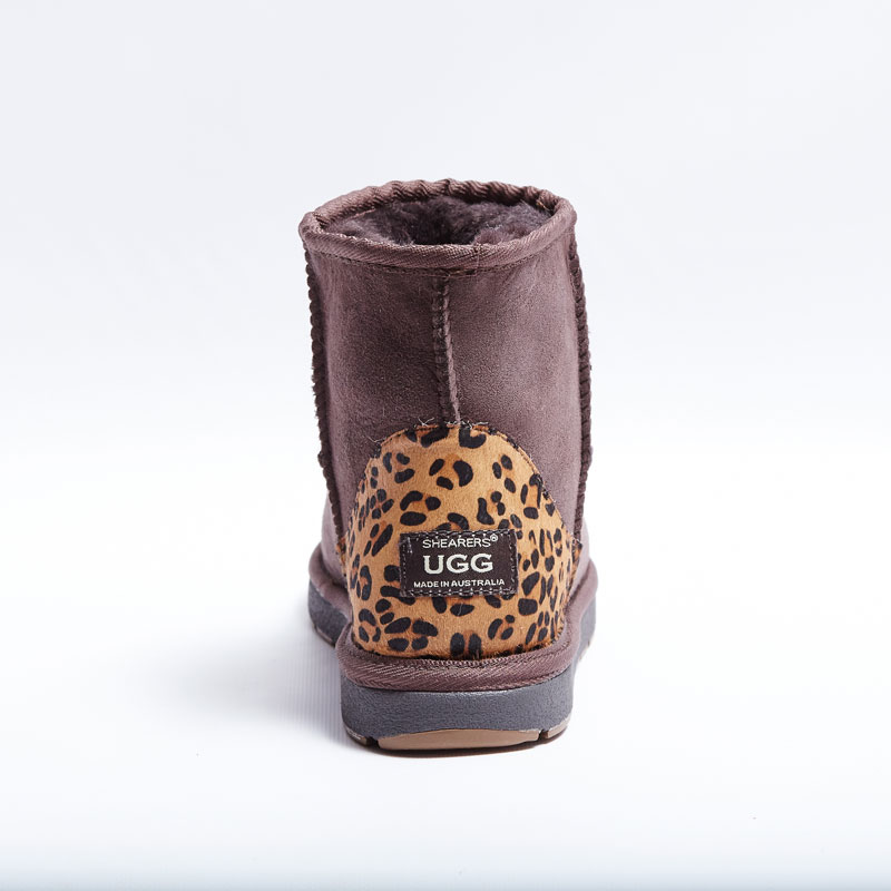 f09ef5386d3 Australian Made Shearers UGG Mini Short Boots with Animal Print Patch